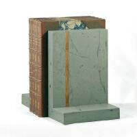 Green slate bookends with teak inlay